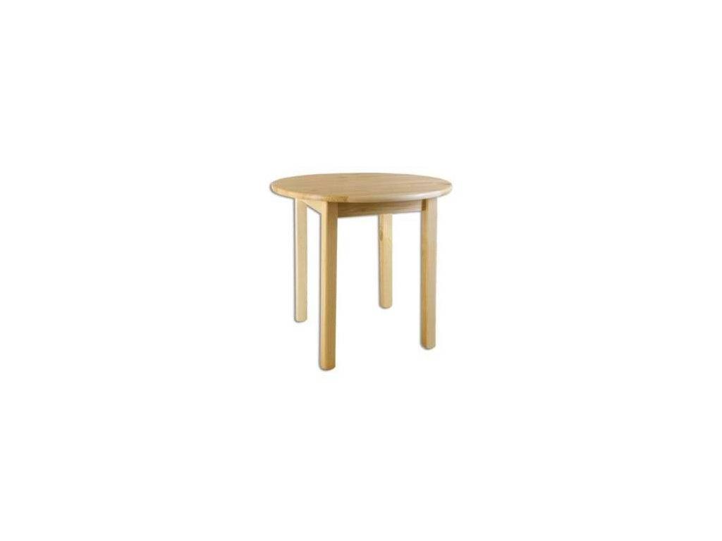 Kulatý dřevěný jídelní stůl borovice masiv KIK 105 průměr 100 cm