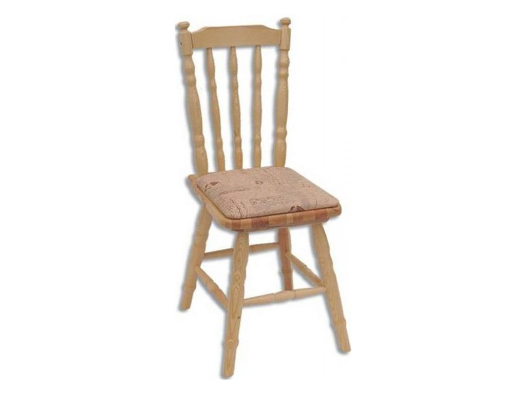 Dřevěná jídelní židle s čalouněným sedákem KIK 106 borovice masiv