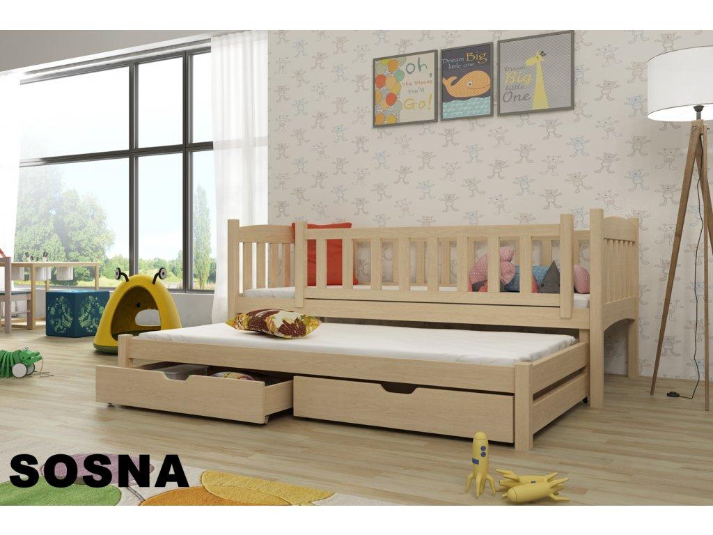 Dřevěná postel AMÁLKA 180X80cm s přistýlkou a úložným prostorem se zábranou  borovice masiv