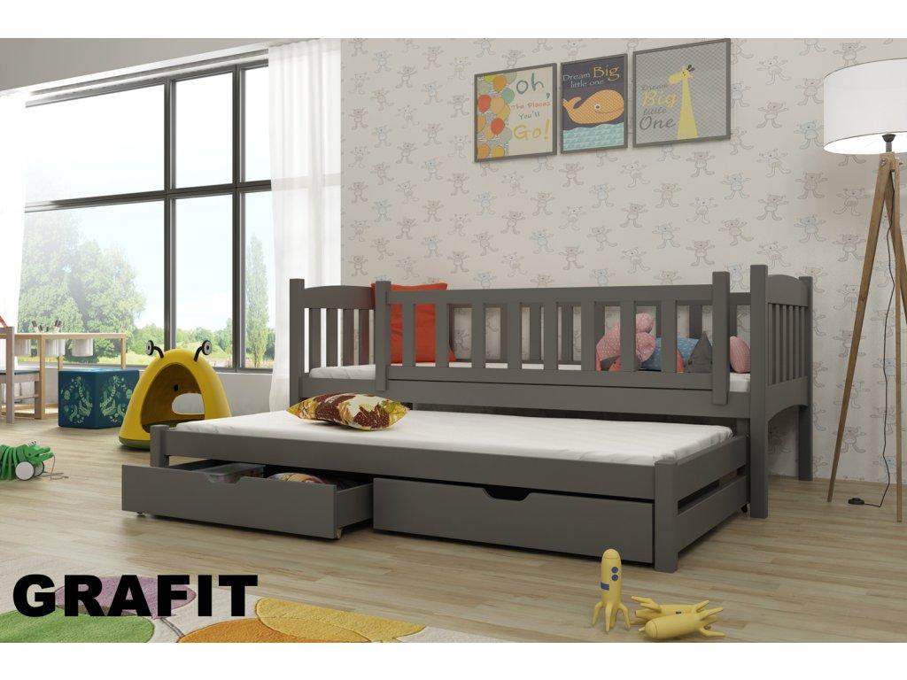 Dřevěná postel AMÁLKA 190X90cm s přistýlkou a úložným prostorem se zábranou borovice masiv GRAFIT