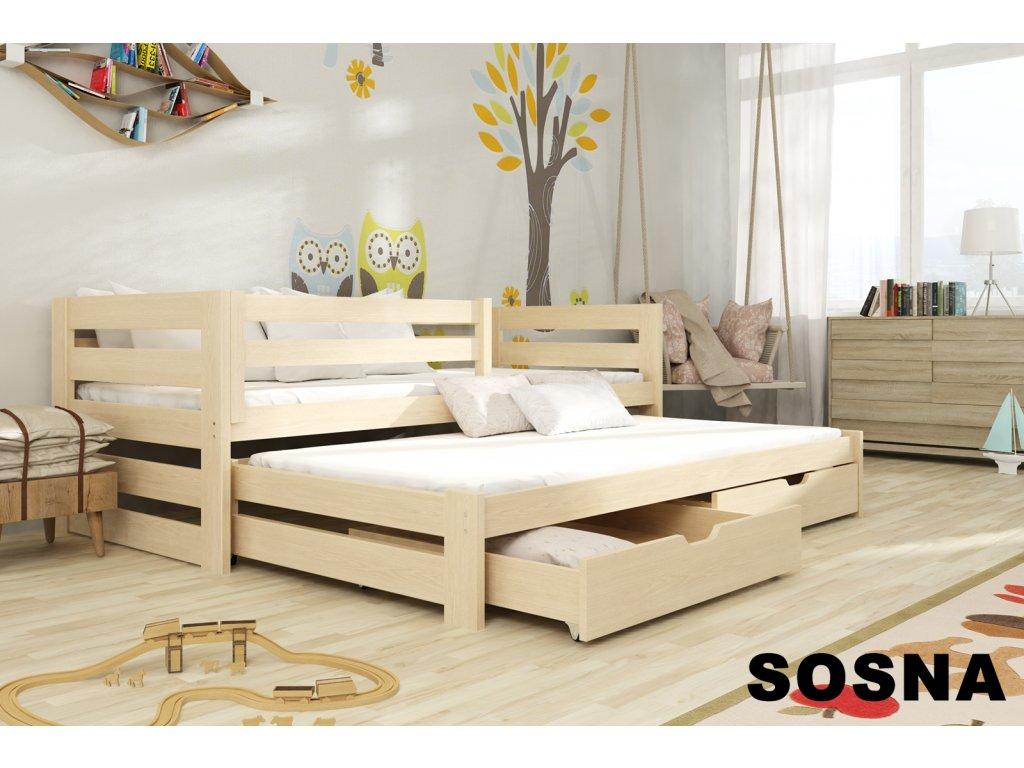 Dřevěná postel KUBÍK 200X90cm s přistýlkou a úložným prostorem se zábranou borovice masiv