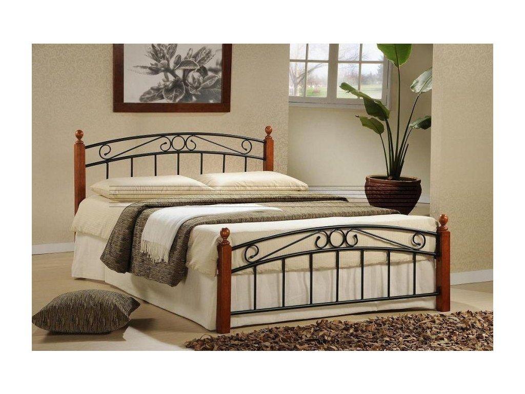 Kovová postel Dorka 160x200 cm třešeň