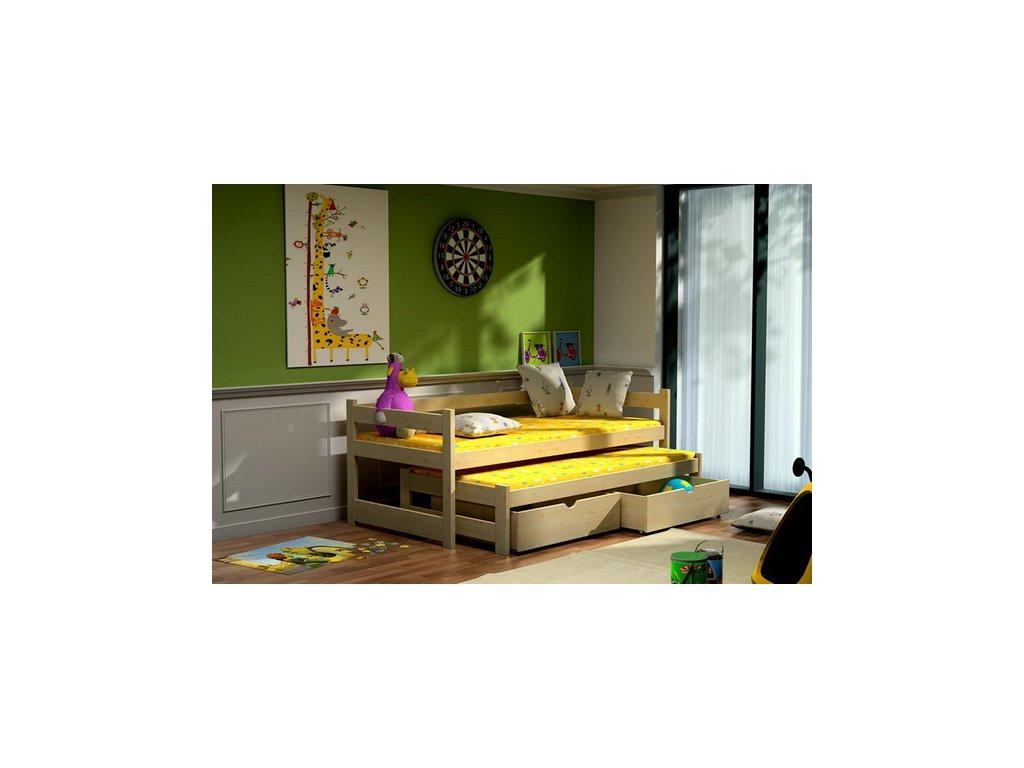 Dřevěná postel KIK-V003 80x200cm s přistýlkou a úložným prostorem borovice masiv lakovaná