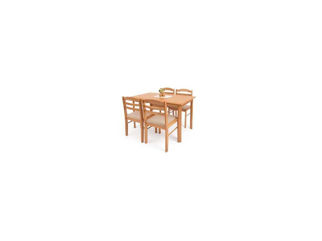 Jídelní set T-3048 -stůl + 4 židle odstín dub
