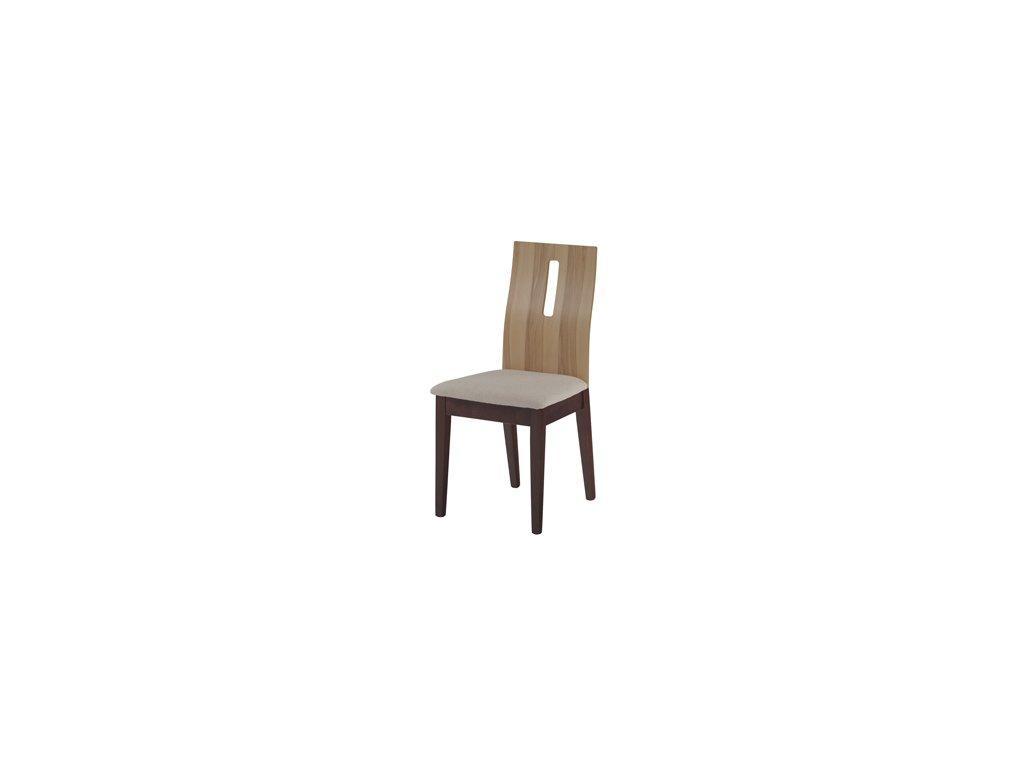 C-1507 BWAL jídelní židle ořech / opěrák jádrový buk,potah krémový