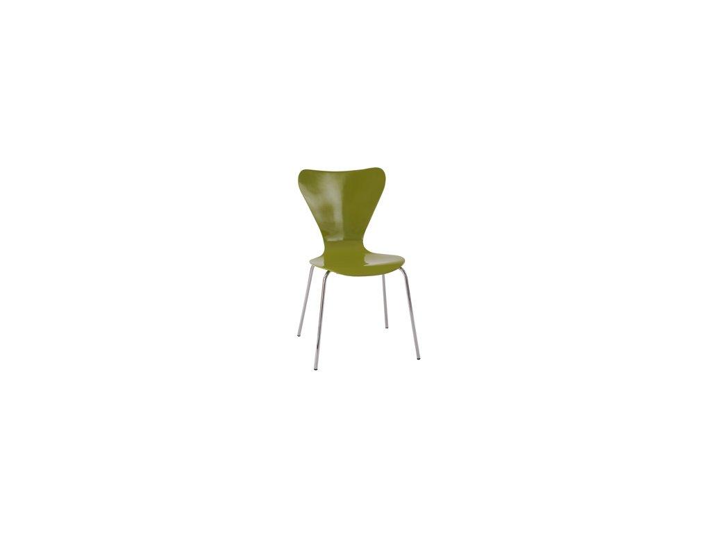 C-180-5 GRN jídelní židle, chrom / překližka zelená (lesk)
