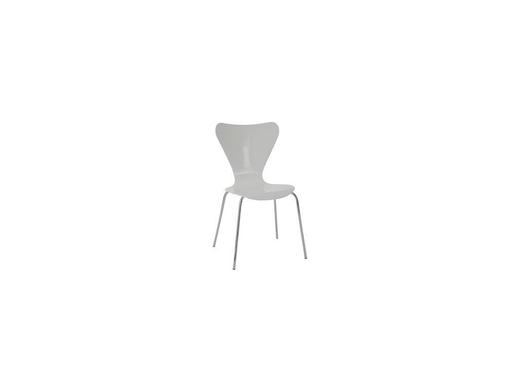 C-180-5 WT jídelní židle, chrom / překližka bílá (lesk