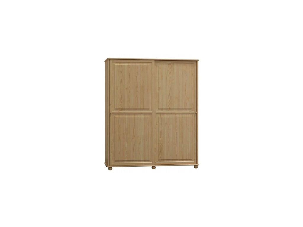 Šatní skříň z borovice s posuvnými dveřmi  Clasik 82  šířka 133 cm