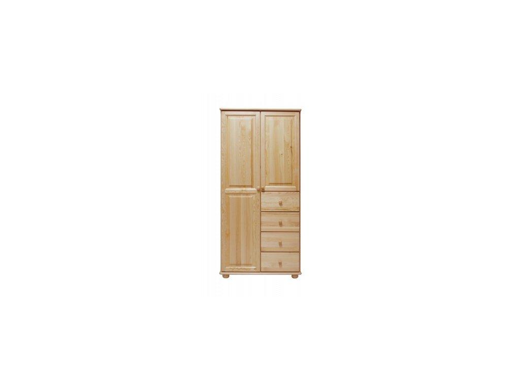 Dřevěná šatní skřín KIK 65C se zásuvkami  borovice masiv šířka 90 cm