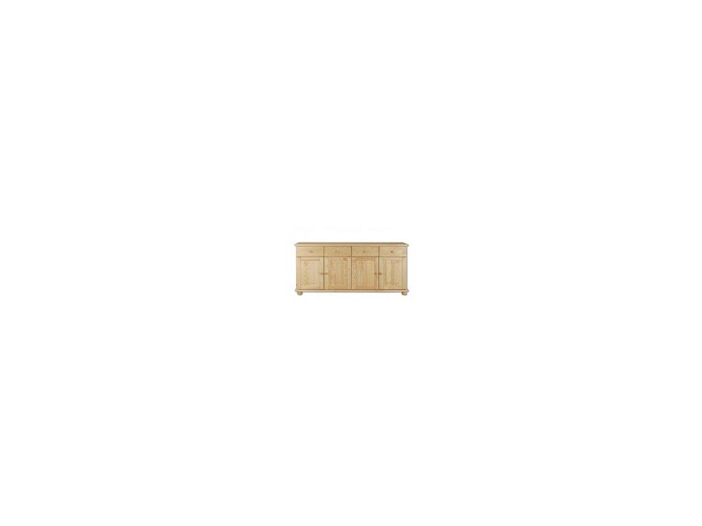 Dřevěná komoda borovice masiv KIK-141 - 4 šuplíky + 4 dvířka