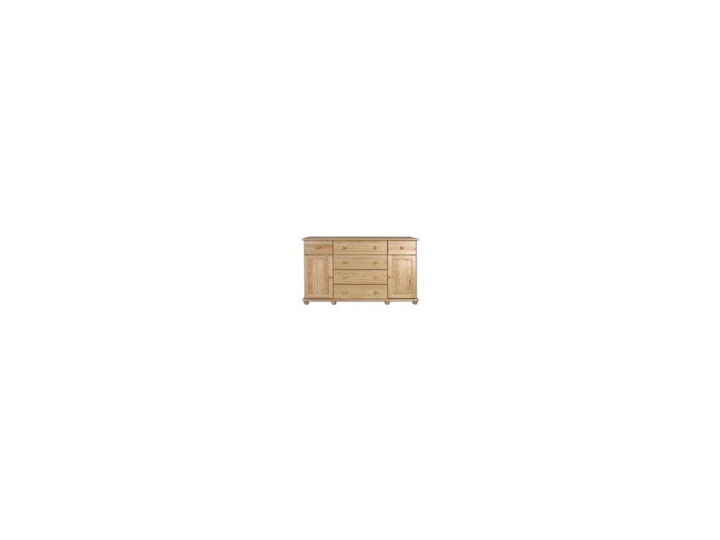 Dřevěná komoda  borovice masiv  KIK  124 - 150x90x45 cm