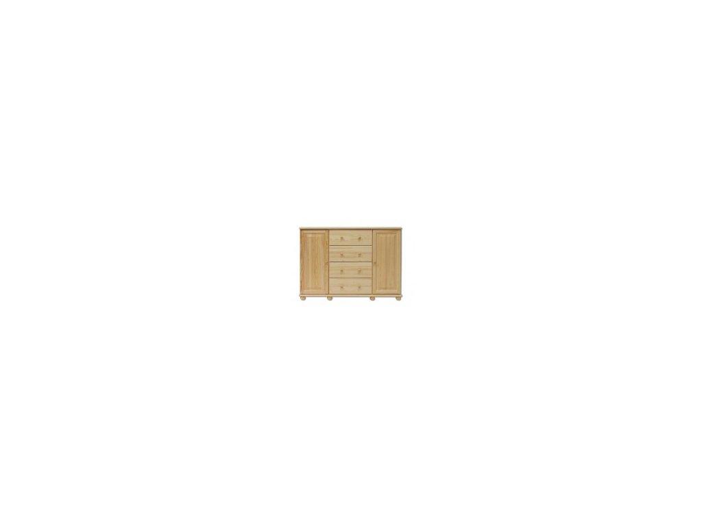 komoda  borovice masiv KIK 120- 4 zásuvky +2 dvířka