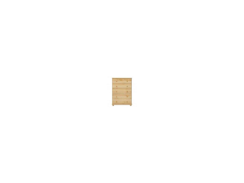 komoda  borovice masiv KIK 114 5 zásuvek 80x122x47 cm