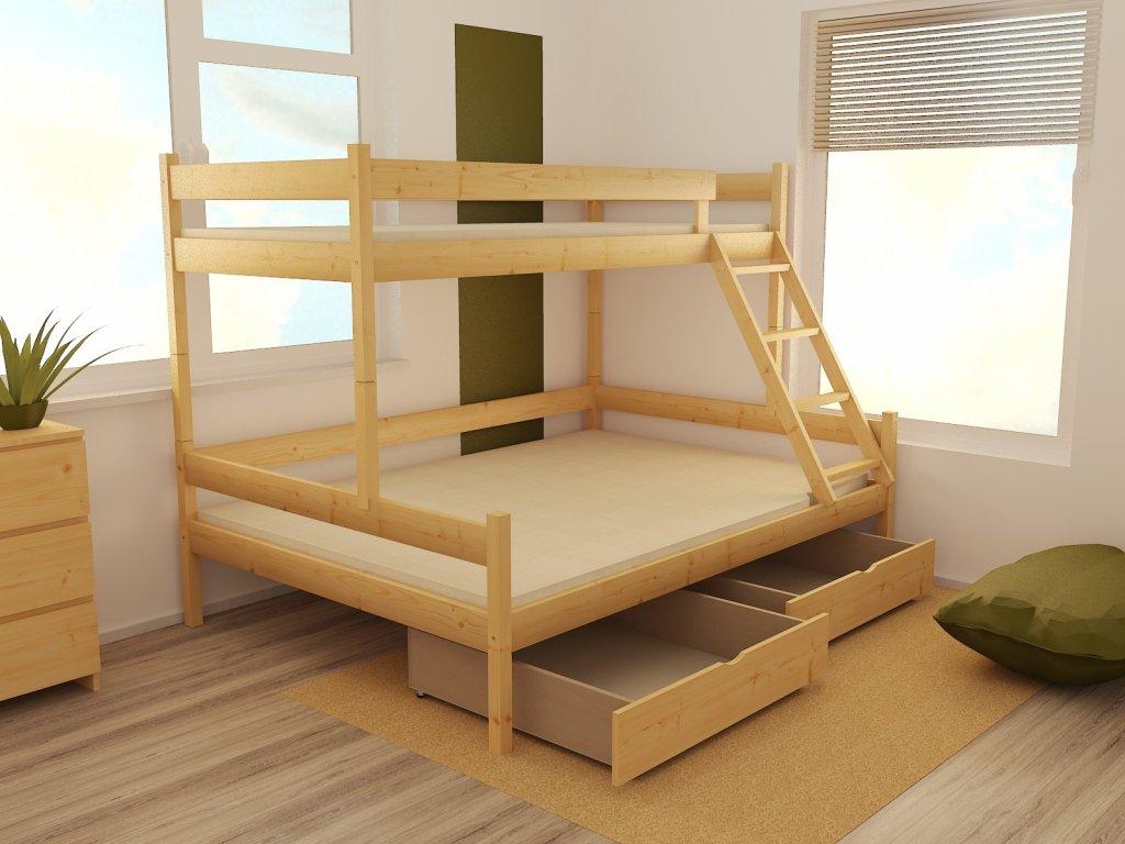 Patrová postel s rozšířeným spodním lůžkem PPS 002 90/160 x 200 cm