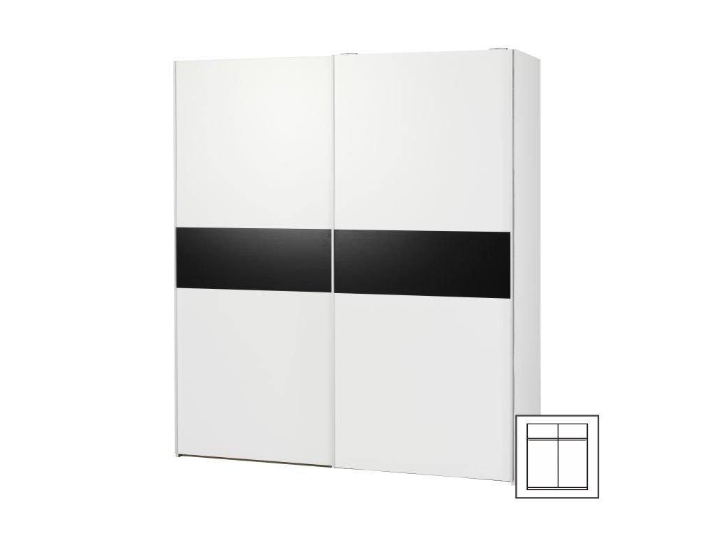 Šatní skříň Verona  75124 s posuvnými dveřmi - černá/bílá