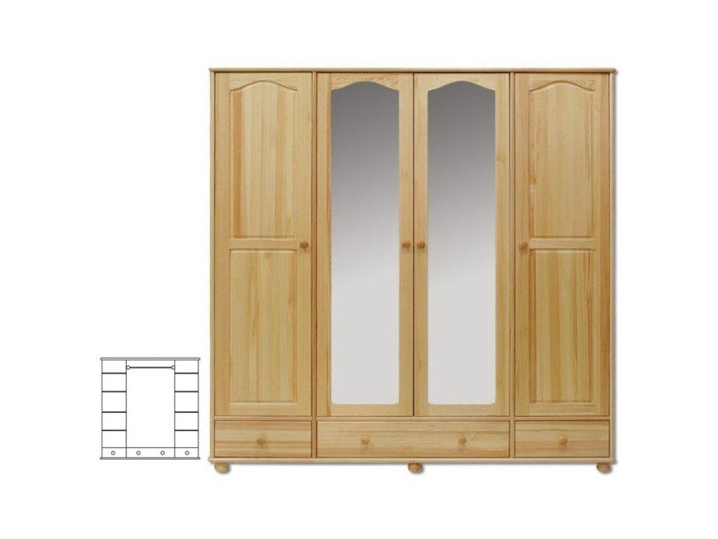 Šatní skřín 4 dveřova se zrcadlem +3 šuplíky borovice masiv KIK 120