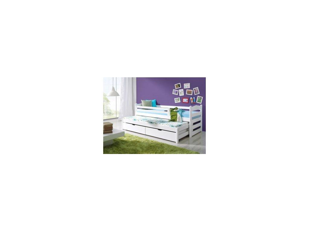 Postel s přistýlkou (výsuvným lůžkem ) a úložným prostorem Mili -borovice masív -bílá