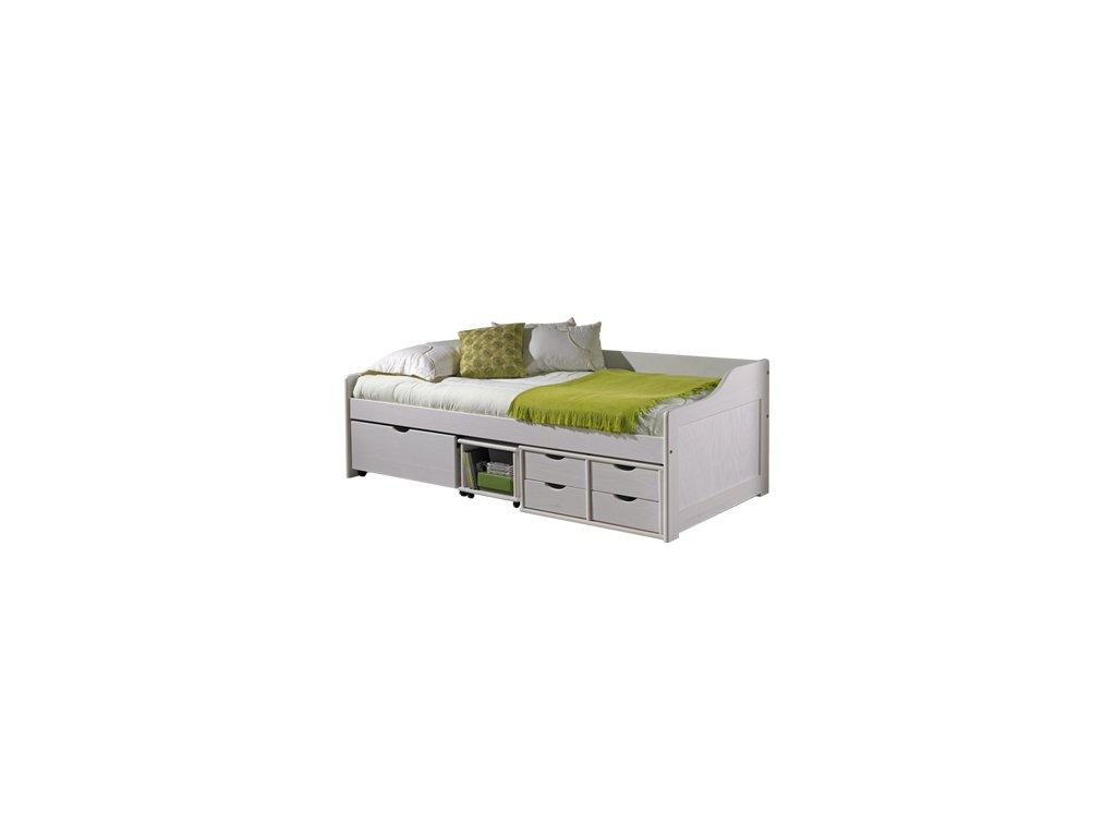 Postel Maxi  8809 s úložným prostorem borovice masív 90x200 cm bílá