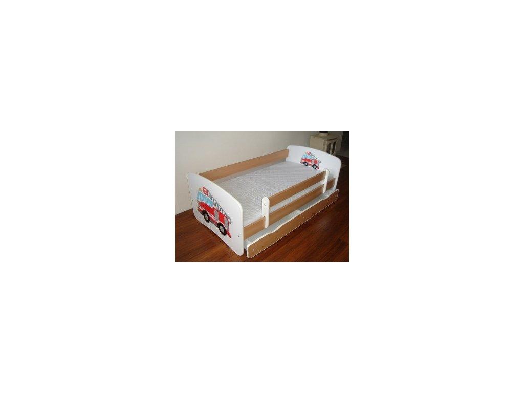 Dětská postel se zábranou a úložným prostorem bílá/buk