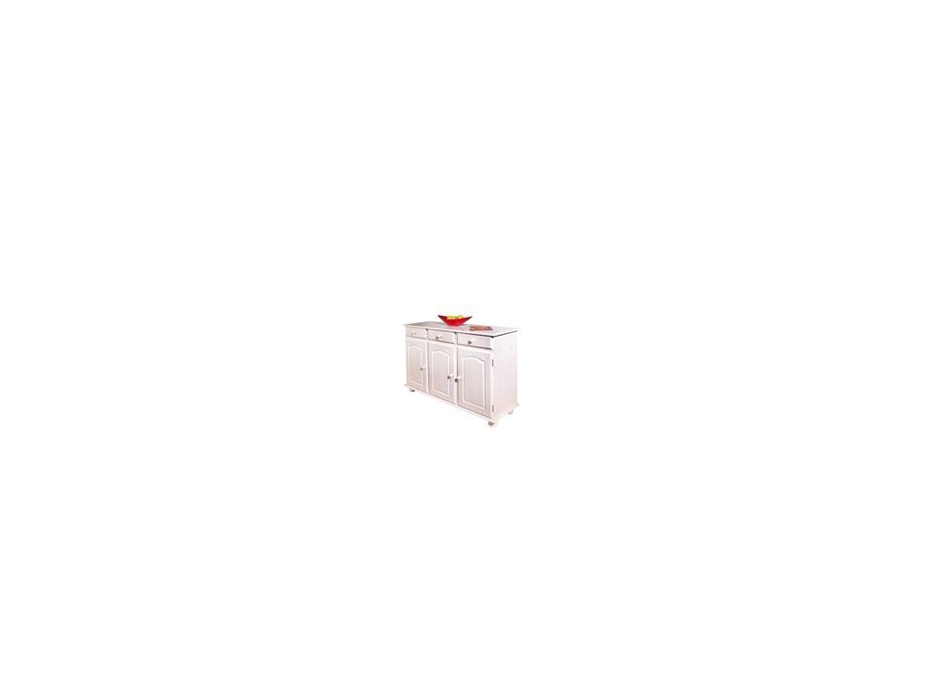 Komoda borovice masiv 3 zásuvky /3 dvířka bílá
