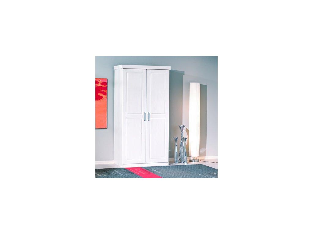 Šatní skříň borovice masiv 2 dveřová - bílá