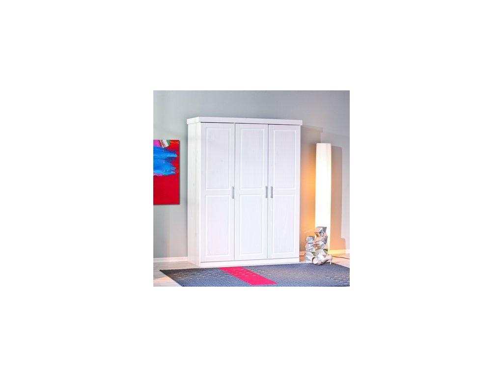 Šatní skříň borovice masiv 3 dveřová - bílá