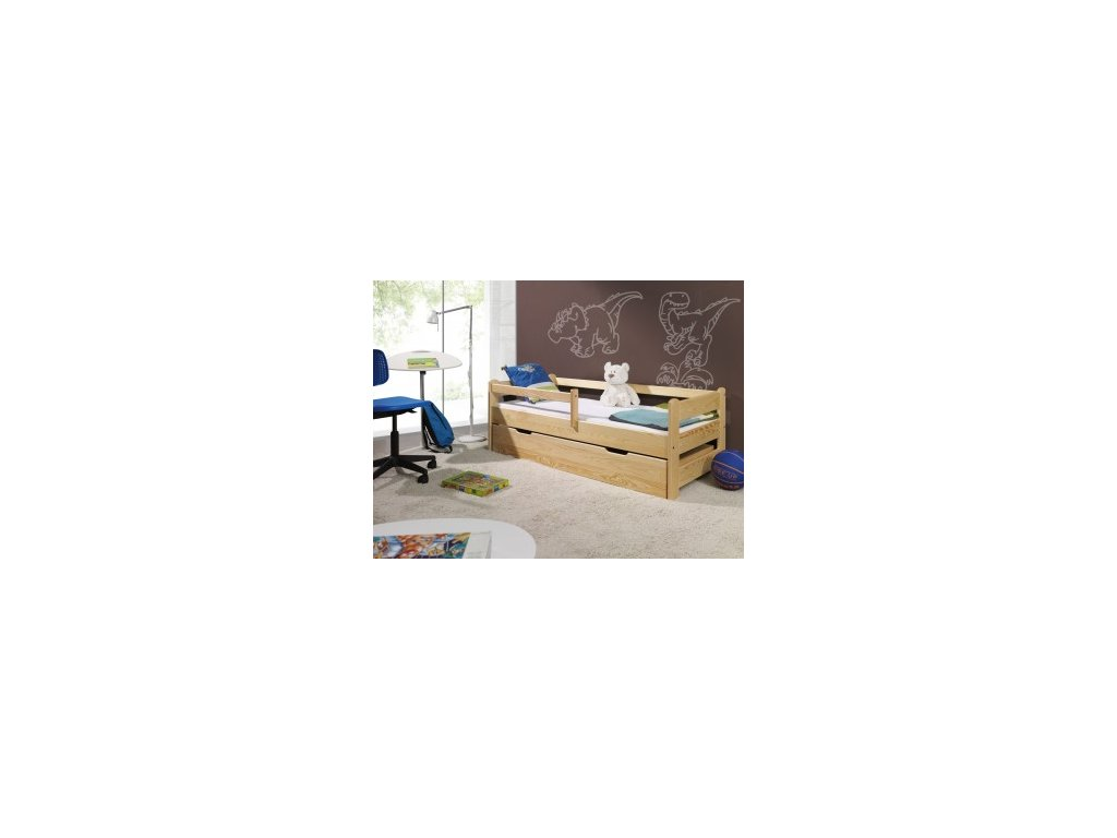 Dětská postel Wendy se zábranou borovice masiv 180x80 cm