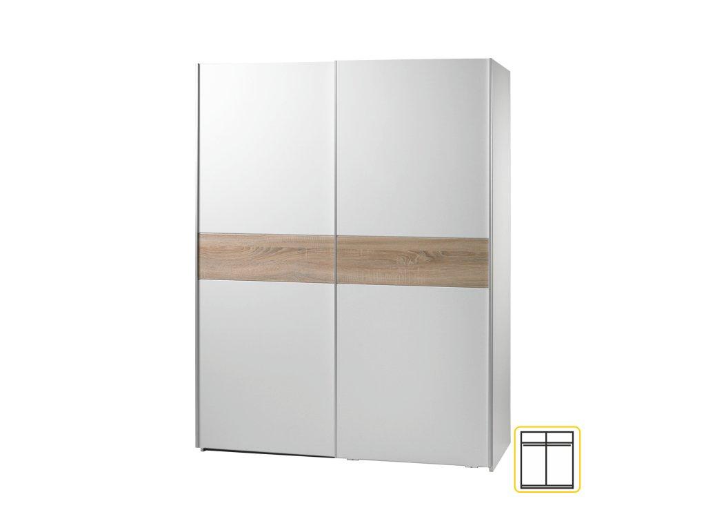 Dvoudveřová skříň, s posuvnými dveřmi, dub sonoma/ bílá, VICTOR 2
