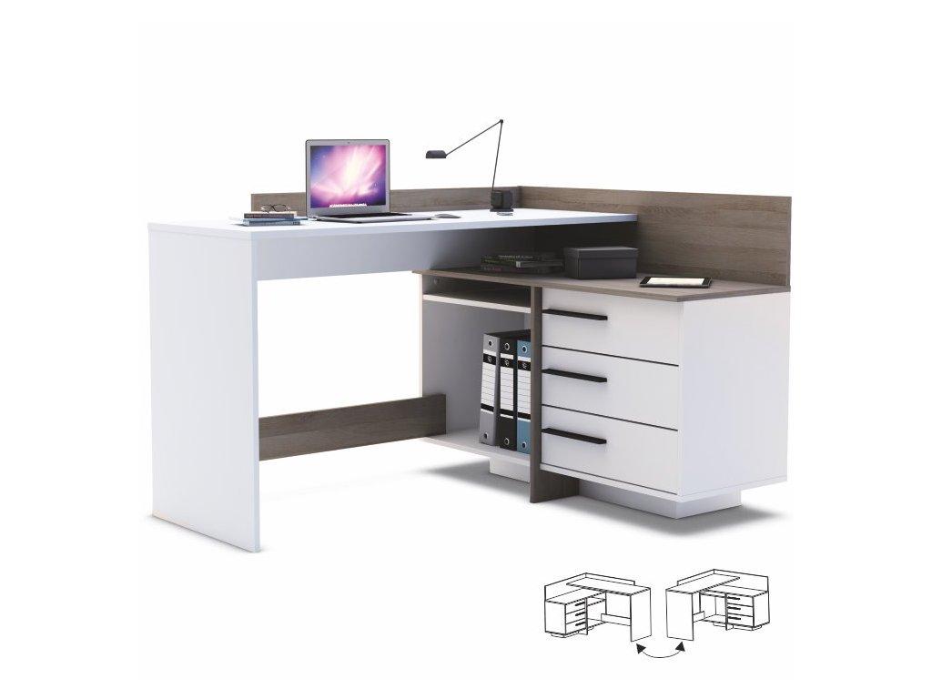 PC stůl s kontejnerem a policí bílý/tmavý dub