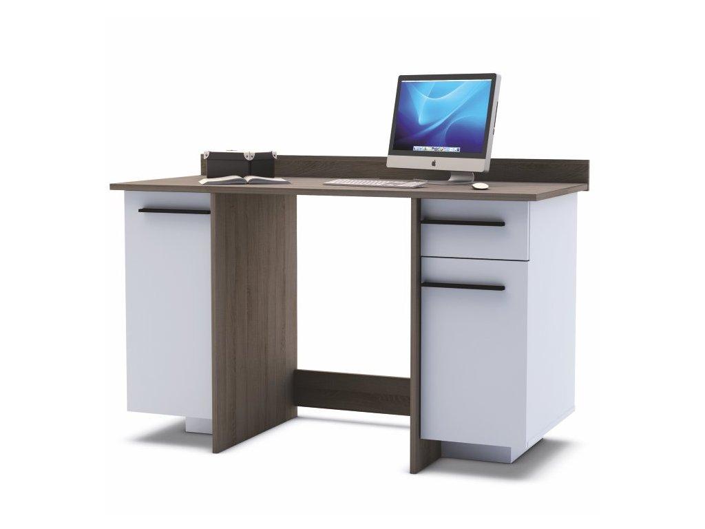 PC stůl kombinovaný bílý/tmavý dub