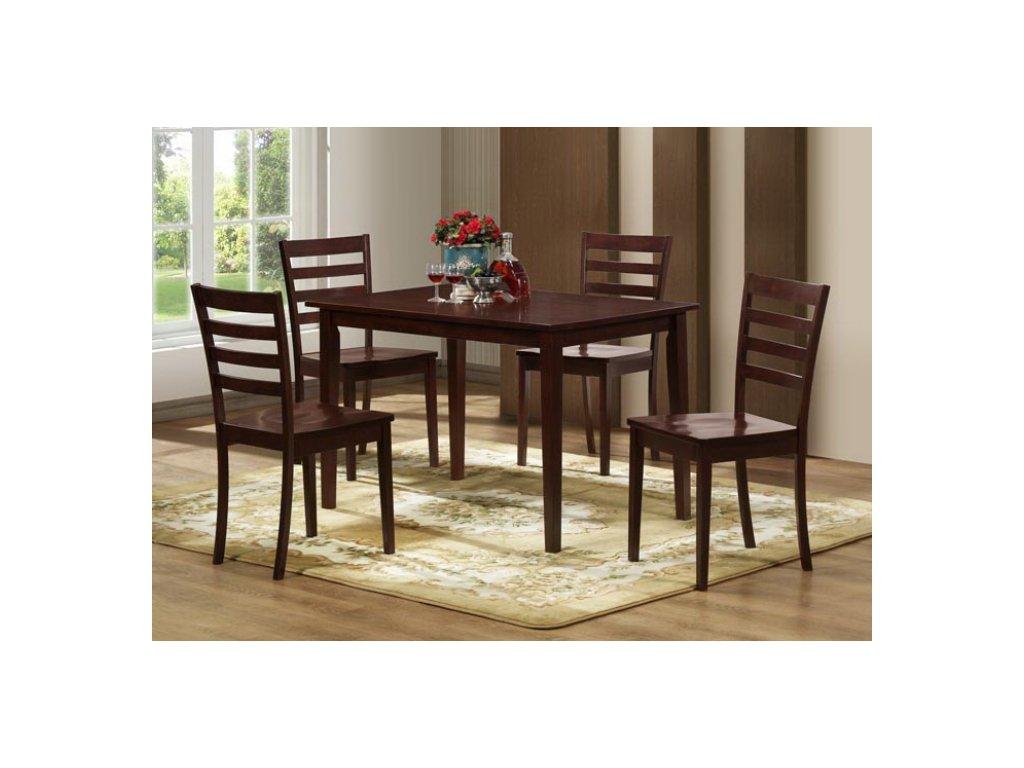 Jídelní set Tekla - stůl + 4 židle, tmavý ořech