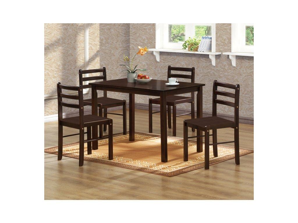 Jídelní komplet Marica  stůl + 4 židle , tmavý ořech