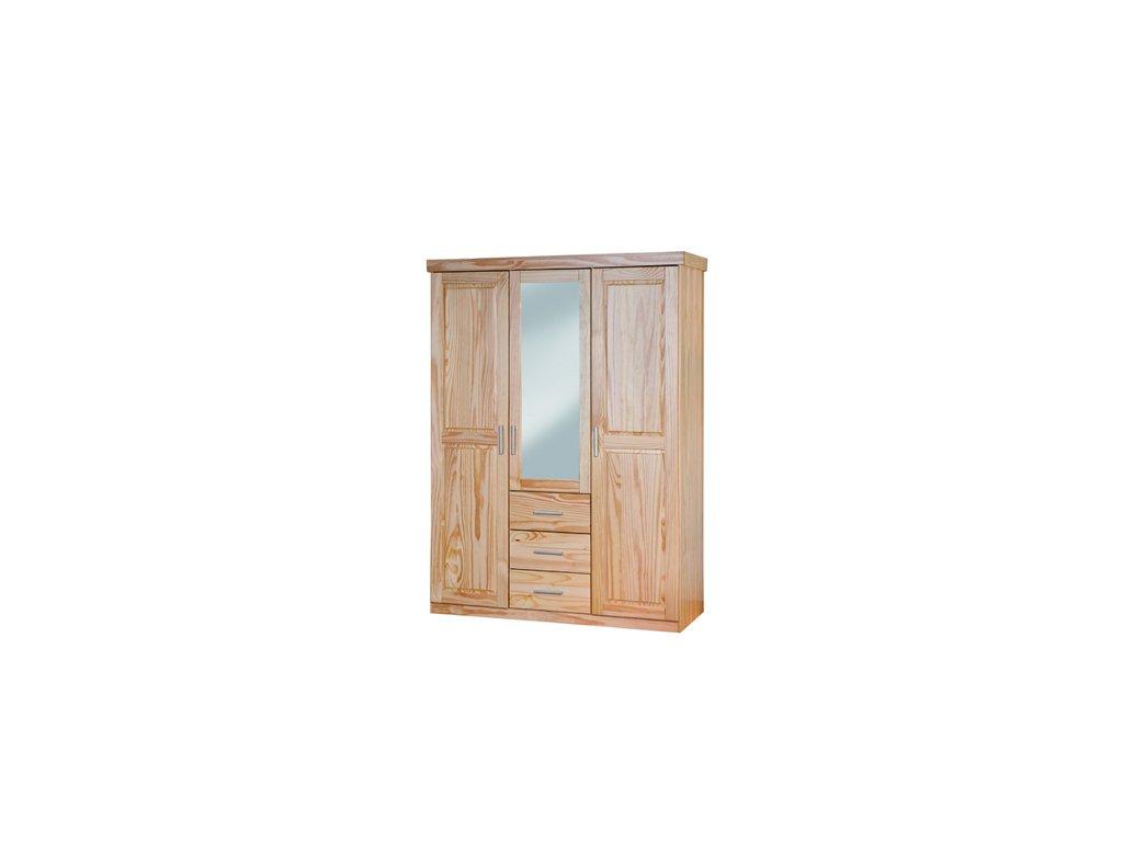 Šatní skřín třídveřová se zrcadlem a zásuvkami I 131 borovice masiv