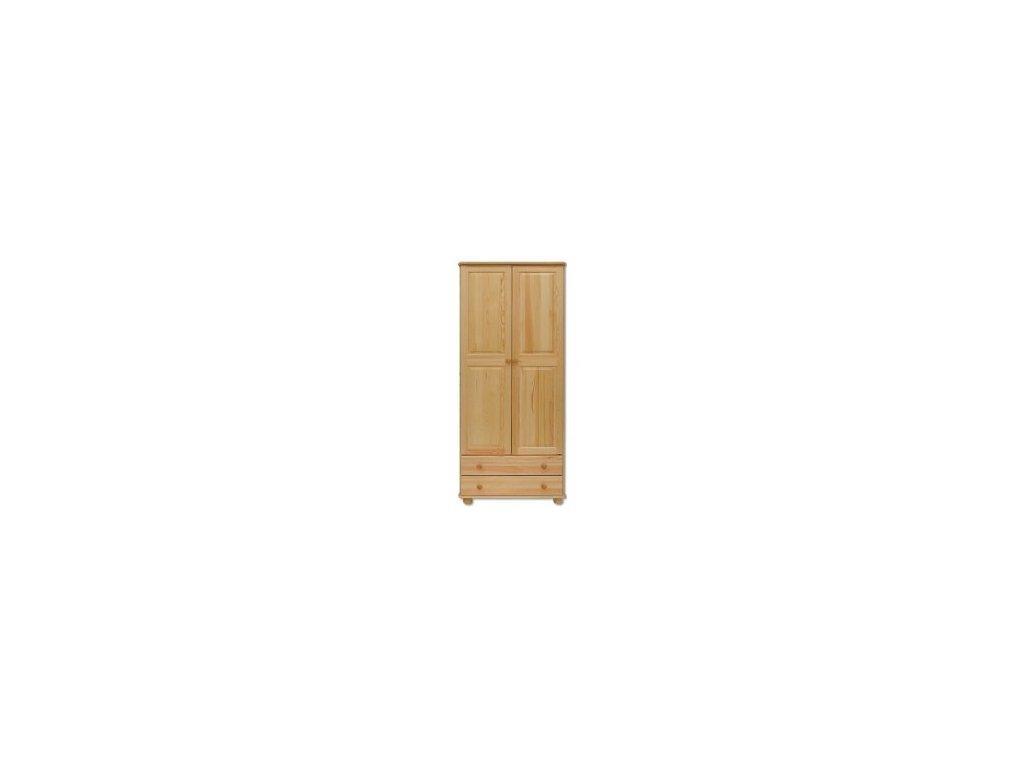 Dřevěná šatní skříň se zásuvkami KIK 111 borovice masiv 180x84x45 cm