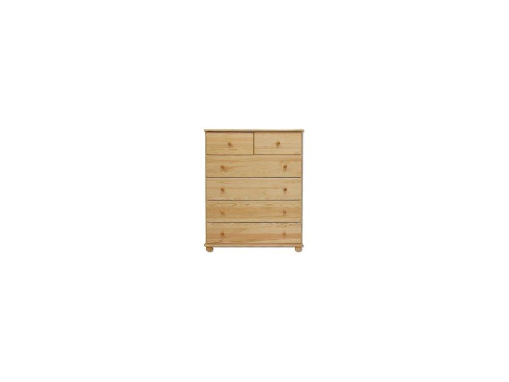 Dřevěná komoda 4+2 šuplíky KIK 113 borovice masiv 100x122x47 cm