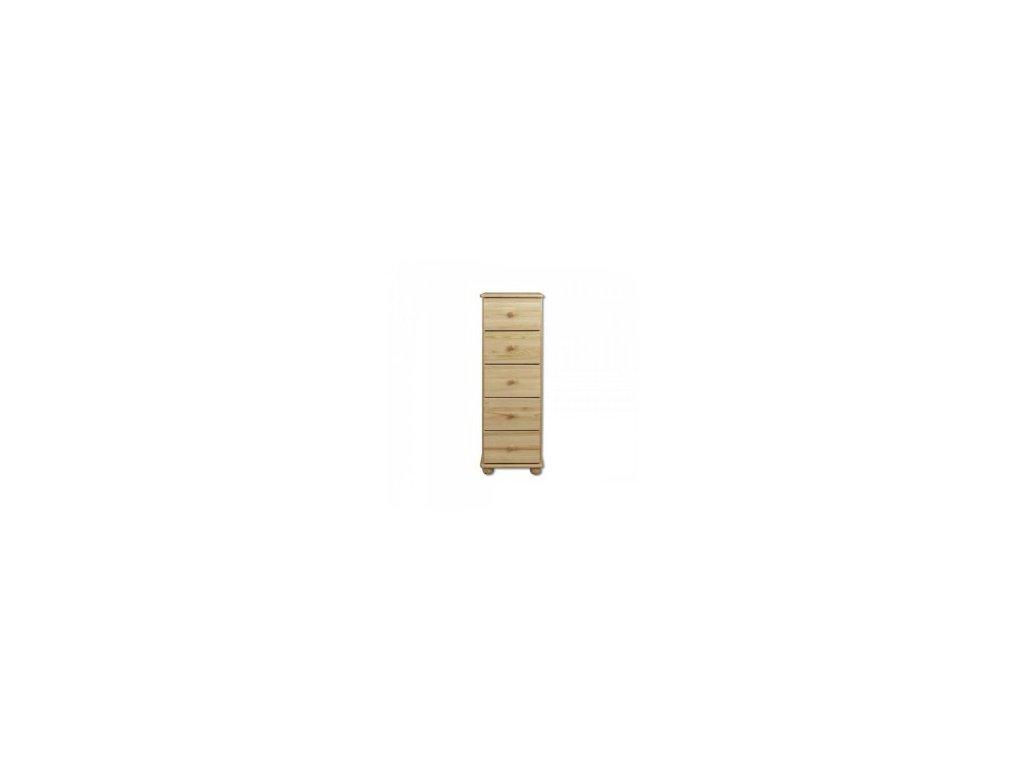 Dřevěná komoda 6 zásuvek úzka KIK 116 borovice masiv