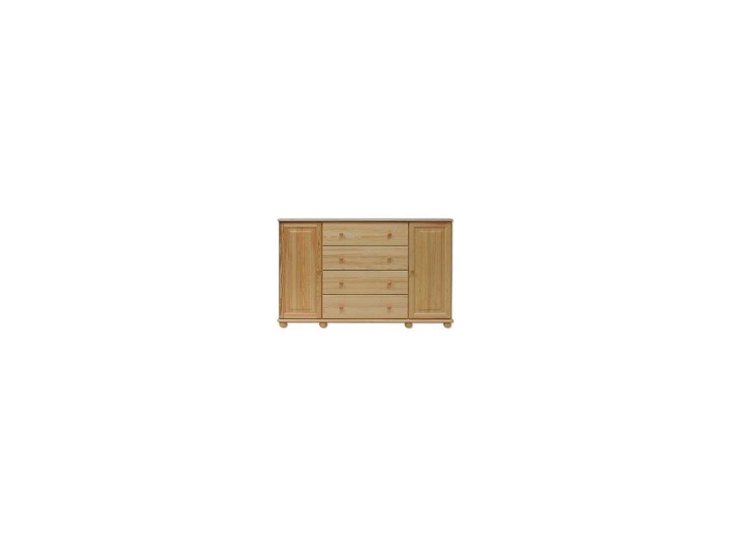 Kombinovaná dřevěná komoda KIK 123 borovice masiv 4 zásuvky +2 dvířka