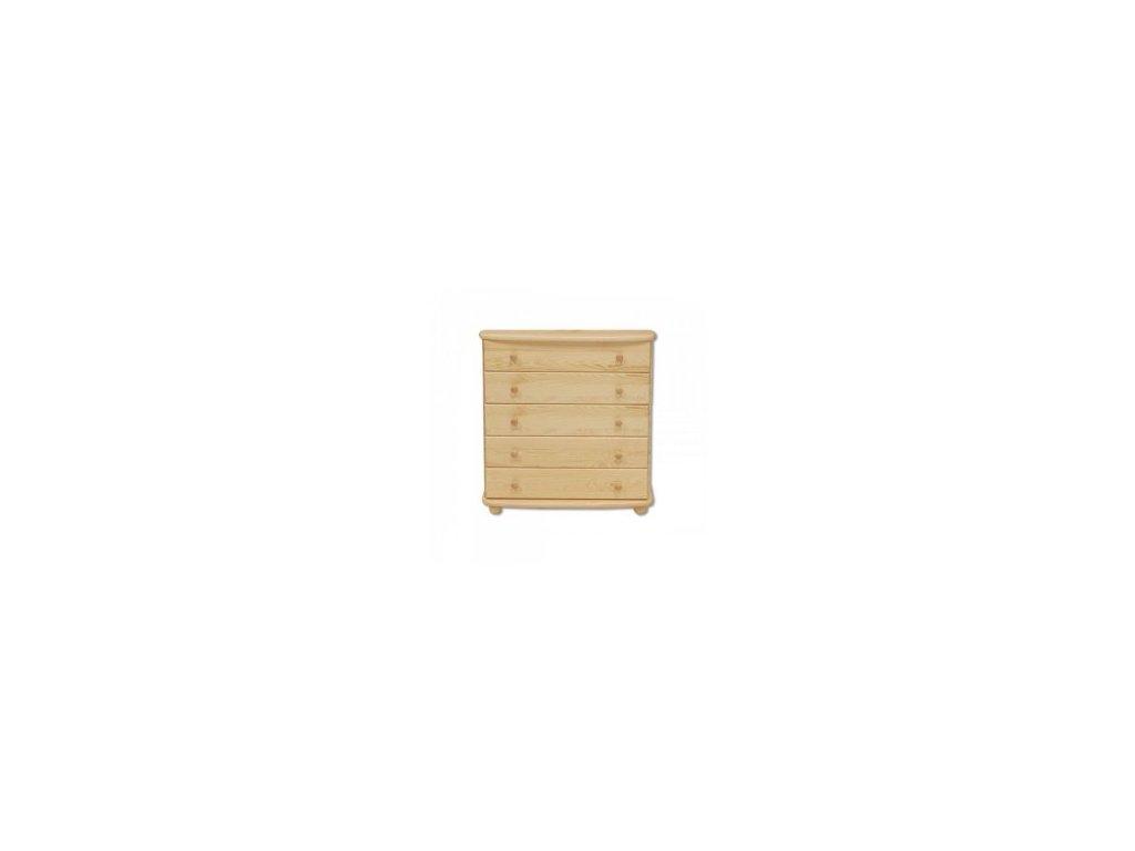 Dřevěná šuplíková komoda  KIK 151 borovice masiv 5 šuplíků