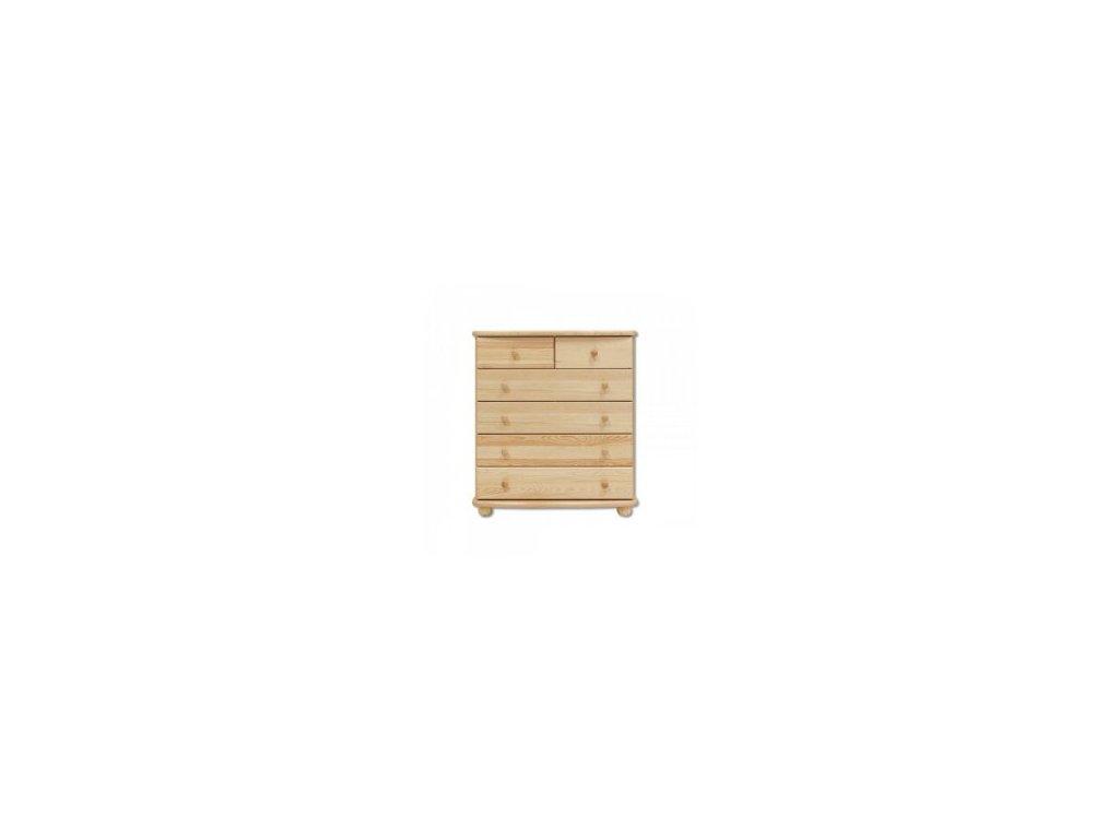 Dřevěná komoda  KIK 154 borovice masiv -4 +2 zásuvky