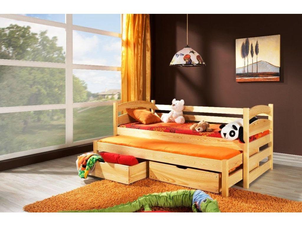 Dřevěná postel Tosia 190x90cm s přistýlkou a úložným prostorem borovice masiv