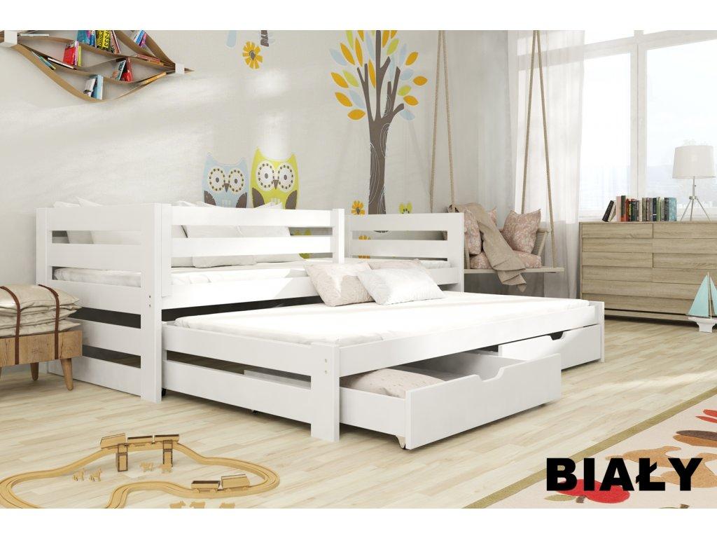 Masivní postel KUBÍK 90x200 cm s přistýlkou a úložným prostorem se zábranou borovice masiv BÍLÁ