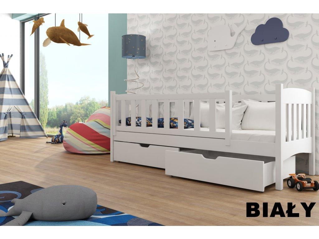 Dřevěná postel GUCIO 180X80cm s úložným prostorem borovice masiv BÍLÁ