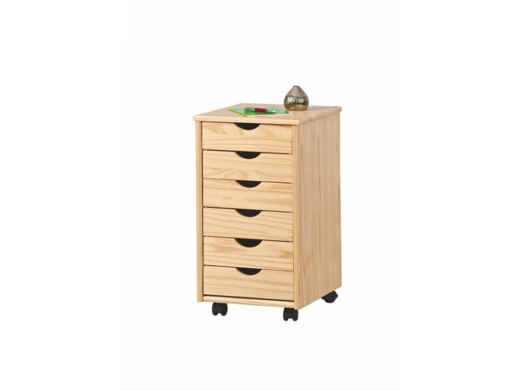 Dřevěný kontejner Nils 6 zásuvek borovice masív - Skladem