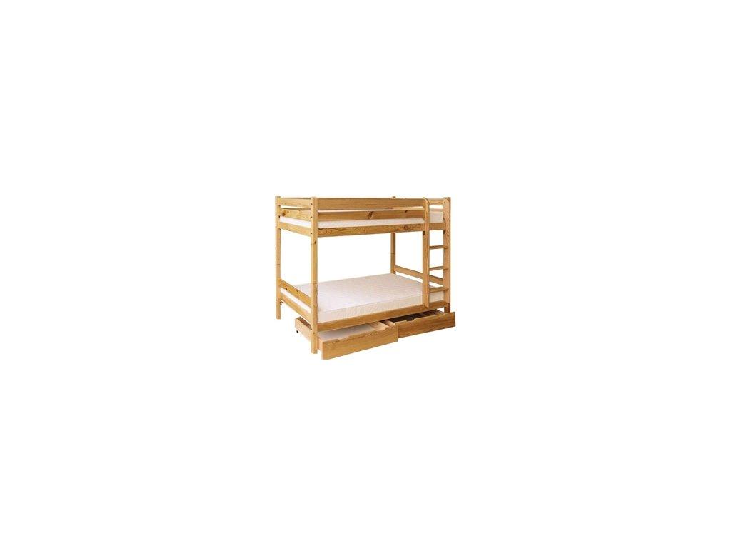 Patrová postel TED 90x200 cm s úložným prostorem a matracemi borovice masív