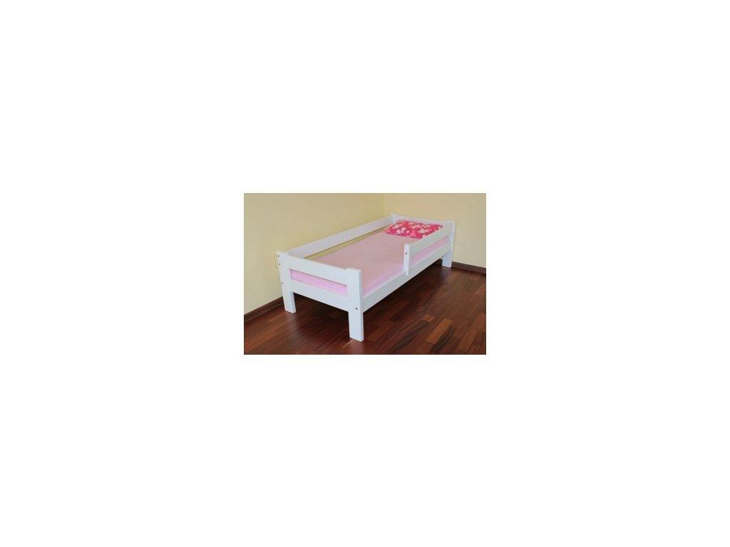 Dětská postel Adélka s ohrádkou borovice masív bílá 90x200cm