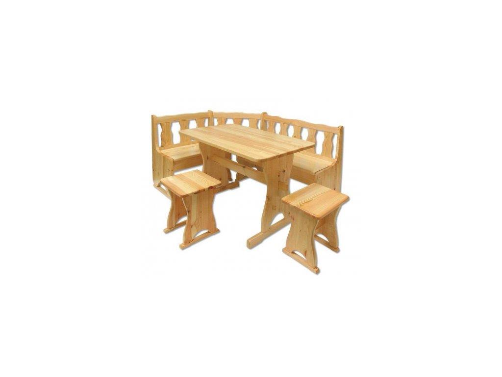 Rohová jídelní lavice + stůl+2xtaburet