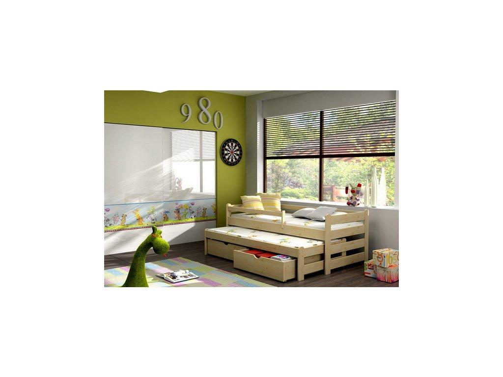 Dřevěná postel KIK-V001 90x200 cm s přistýlkou a úložným prostorem borovice masiv lakovaná