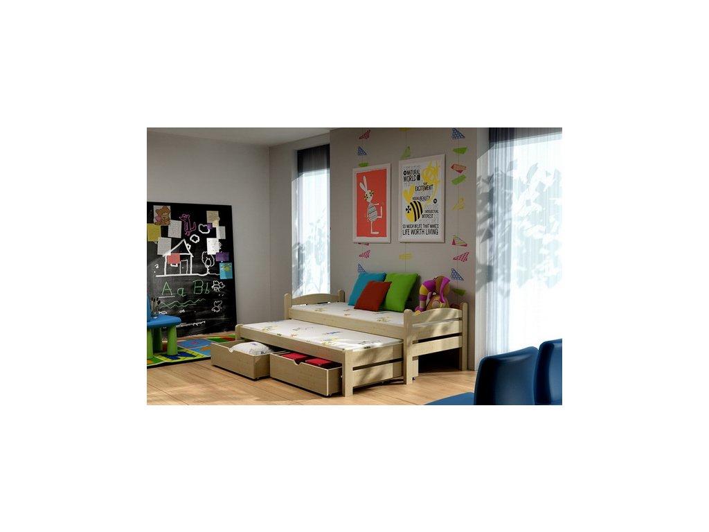 Dřevěná postel KIK-V010 90x200cm s přistýlkou a úložným prostorem borovice masiv lakovaná