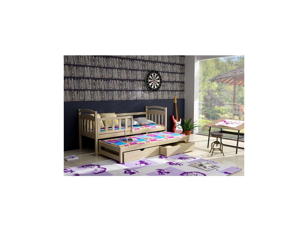 Dřevěná postel KIK-V008 90x200cm s přistýlkou a úložným prostorem borovice masiv lakovaná
