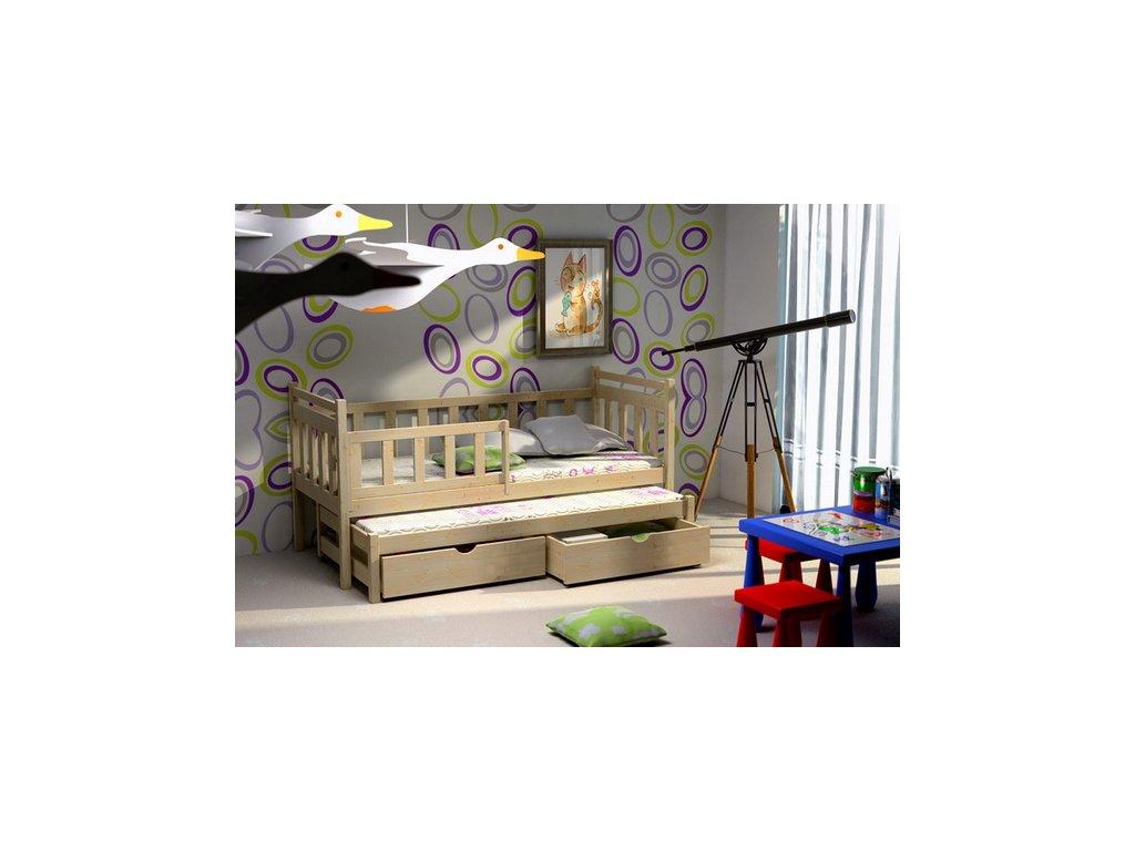 Dřevěná postel KIK-V004 90x200cm s přistýlkou a úložným prostorem borovice masiv lakovaná
